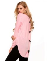 Pink Back Bow Decoration Long Batwing Sleeve Asymmetry Hem Tops