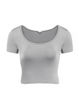 Grey Cute Basic O Neck Solid Slim Fit Crop Tops