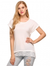 Lace Trim Asymmetrical Short Sleeve Loose T-Shirts