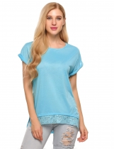 Blue Lace Trim Asymmetrical Short Sleeve Loose T-Shirts