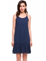 Navy blue Spaghetti Straps Cross Back Solid Chiffon Dress