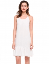 White Spaghetti Straps Cross Back Solid Chiffon Dress
