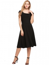 Black Sleeveless Square Neck Empire Solid Dress