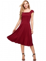 Red Sleeveless Square Neck Empire Solid Dress