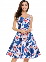 Blue Vintage Sleeveless Floral Print Swing Dress