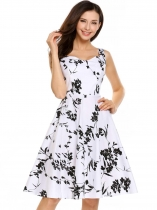 White Vintage Sleeveless Floral Print Swing Dress