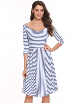 Blue Vintage 3/4 Sleeve Stripes V Neck Swing Dress