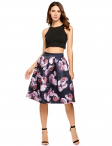 Blue High Waist Vintage Style Printed Bubble Skirt