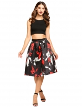 Black 2 High Waist Vintage Style Printed Bubble Skirt