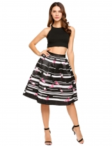 Black 1 High Waist Vintage Style Printed Bubble Skirt