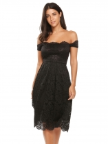 Black Vintage Lace Scallop Trimmed Off Shoulder Dress