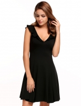 Black V-neck Ruffles Solid Sexy Backless Dress