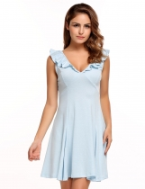 Light blue V-neck Ruffles Solid Sexy Backless Dress