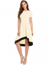 Nude Short Sleeve High Low Hem Casual Dress