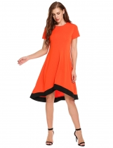 Orange Mujeres de talla grande informal manga corta Patchwork O Neck Pullover vestido bloque color