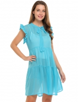 Light blue Sleeveless Solid Bow Neck Ruffles Chiffon Dress