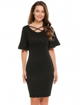 Black Flare Sleeve Solid Cross Front Pencil Dress