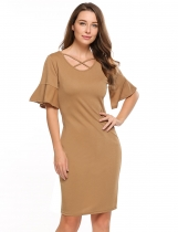 Khaki Flare Sleeve Solid Cross Front Pencil Dress