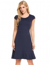 Navy blue Cap Sleeve Front Draped Belted Ruffles Hem Dress