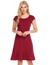 Wine red Cap Sleeve Front Draped Belted Ruffles Hem Dress