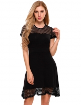 Black Mesh Patchwork Short Sleeve Fit and Flare Mini Dress