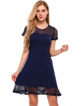 Mujeres de manga corta Patchwork Hollow Fit y Flare Mini Dress Partido Casual