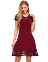 Red Mesh Patchwork Short Sleeve Fit and Flare Mini Dress