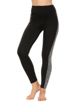 Black High Waist Slim Patchwork Yoga Sports Leggings