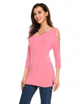 Pink Solid Cold Shoulder Batwing Sleeve Slim Fit Tops