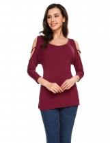 Vinho rouge Femmes Fashion O-Neck 3/4 Sleeve Solid Loose Hollow Out Shoulder Tops