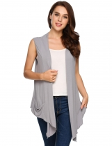 Grey Sleeveless Collarless Solid Asymmetrical Hem Cardigan