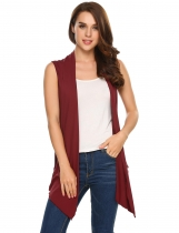 Wine red Sleeveless Collarless Solid Asymmetrical Hem Cardigan