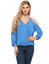 Royal Blue V-Neck Cold Shoulder Long Sleeve Solid Tops