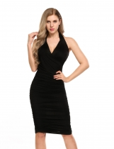 Black Halter Solid Bodycon Pencil Ruched Dress
