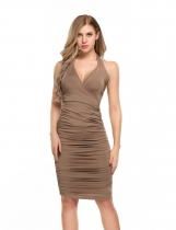 Coffee Halter Solid Bodycon Pencil Ruched Dress