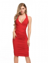 Red Mode féminine Halter Sleeveles Solid Bodycon Slim Pencil Ruched Dress