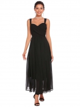 Black Wide Strap Sleeveless A-Line Ruched Dress