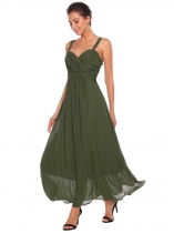 Dark green Wide Strap Sleeveless A-Line Ruched Dress