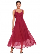 Wine red Femmes Casual Spaghetti Straps sans manches A-Line plissé Swing Sexy Long Dress