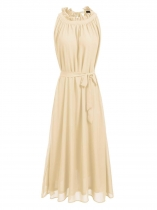 Apricot Ruffle Collar Sleeveless A-Line Pleated Dress with Belt