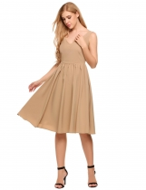 Khaki Sleeveless V-neck High Waist Pleated Slim Dress