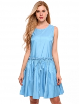 Blue O-Neck Sleeveless Solid Pleated Dress