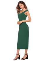Vert Femmes Casual V-Neck sans manches Solid Split Hem Bodycon Slim Long Party Sexy Dress