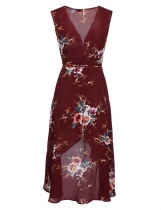 Dark red Mujeres sin mangas de flores impresión alta Low Hem Wrap Dress