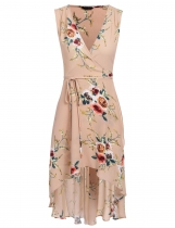 Pastel pink Floral Print High Low Hem Wrap Dress