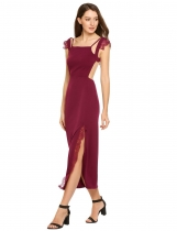 Wine red Spaghetti Straps Patchwork Lace Backless Split Dress