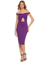 Purple Off the Shoulder Package Hip Backless Pencil Dress