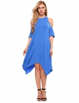 Azul Mujeres Off Shoulder Cross Bandage Irregular Hem Casual Casual Tunic Dress