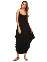 Black Spaghetti Strap Solid Loose Maxi Dress