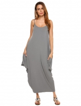 Dark gray Spaghetti Strap Solid Loose Maxi Dress